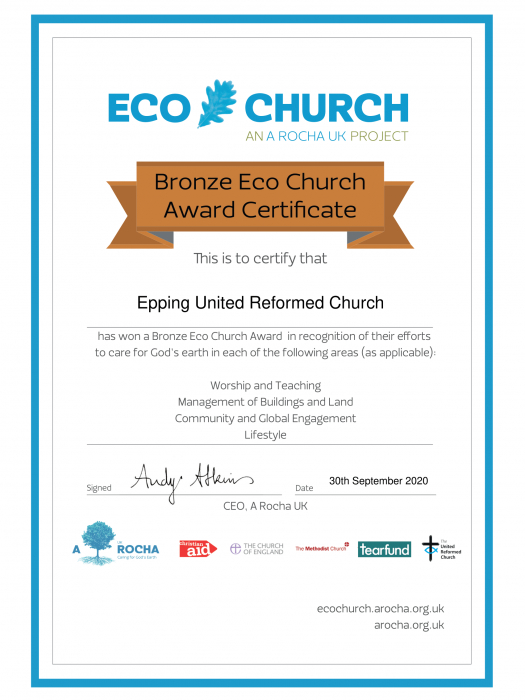 Eco Church Award Certificate Bronze- Epping United Reformed Church